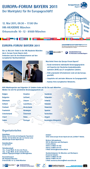 Flyer Europa-Forum Bayern 2011
