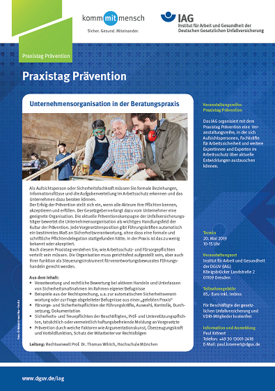 Flyer Praxistag Praevention IAG 2019