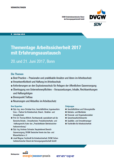 Flyer Thementage Arbeitssicherheit DVGW 2017