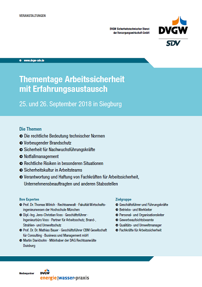 Flyer Thementage Arbeitssicherheit DVGW 2018