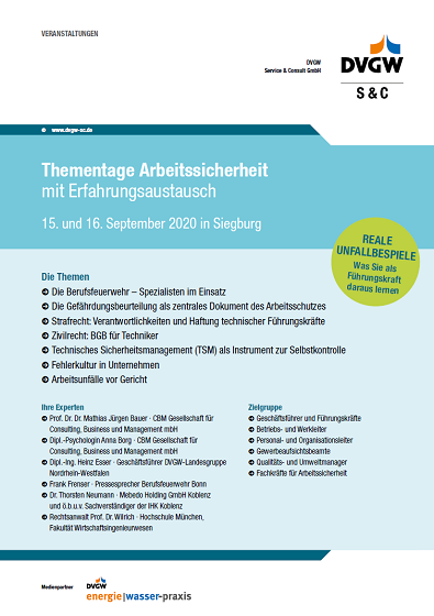 Flyer Thementage Arbeitssicherheit DVGW 2020
